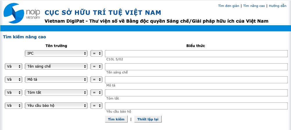 Vietnam DigiPat – Thư viện số về Bằng độc quyền Sáng chế/Giải pháp hữu ích của Việt Nam