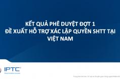 Thông báo kết quả phê duyệt đợt 1 đề xuất hỗ trợ xác lập quyền SHTT tại Việt Nam